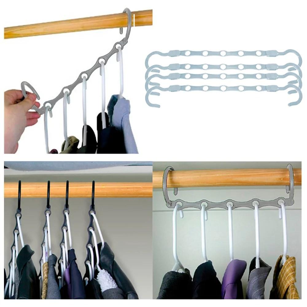 New Lot 4 Space Saver Wonder Magic Clothes Hangers Closet ... on Closet Space Savers Walmart  id=83776