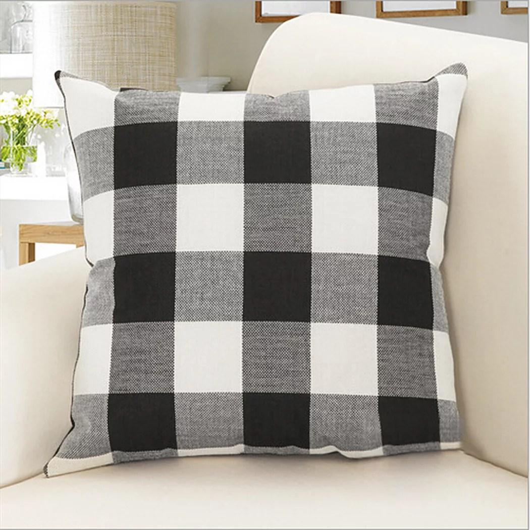 outgeek throw pillow case classic retro plaid pillow cover protector cushion cover for home office car decor 17 7 x 17 7