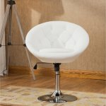 Details About White Pedestal Swivel Chair Faux Leather Accent Height Adjustable Vanity Stool