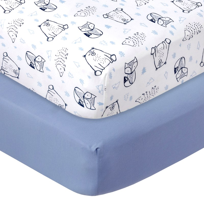Little Star Organic 100% Pure Organic Cotton Fitted Jersey Crib Sheets, 2 Pk, Blue-Wild at Heart