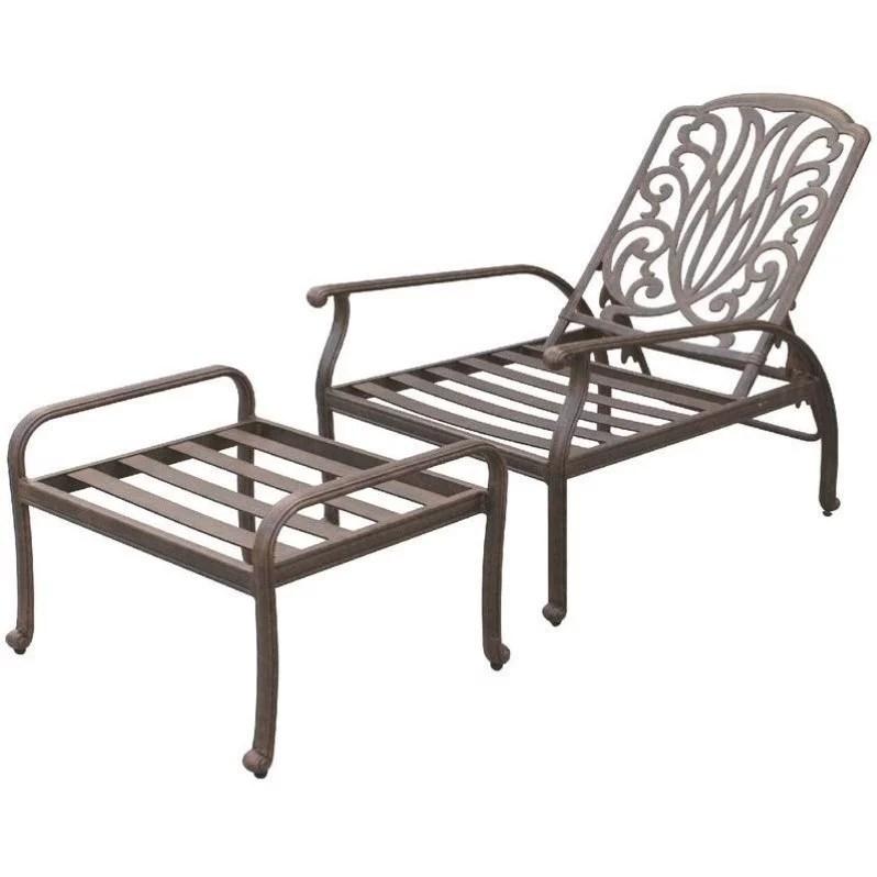 darlee elisabeth adjustable patio chair and ottoman in antique bronze