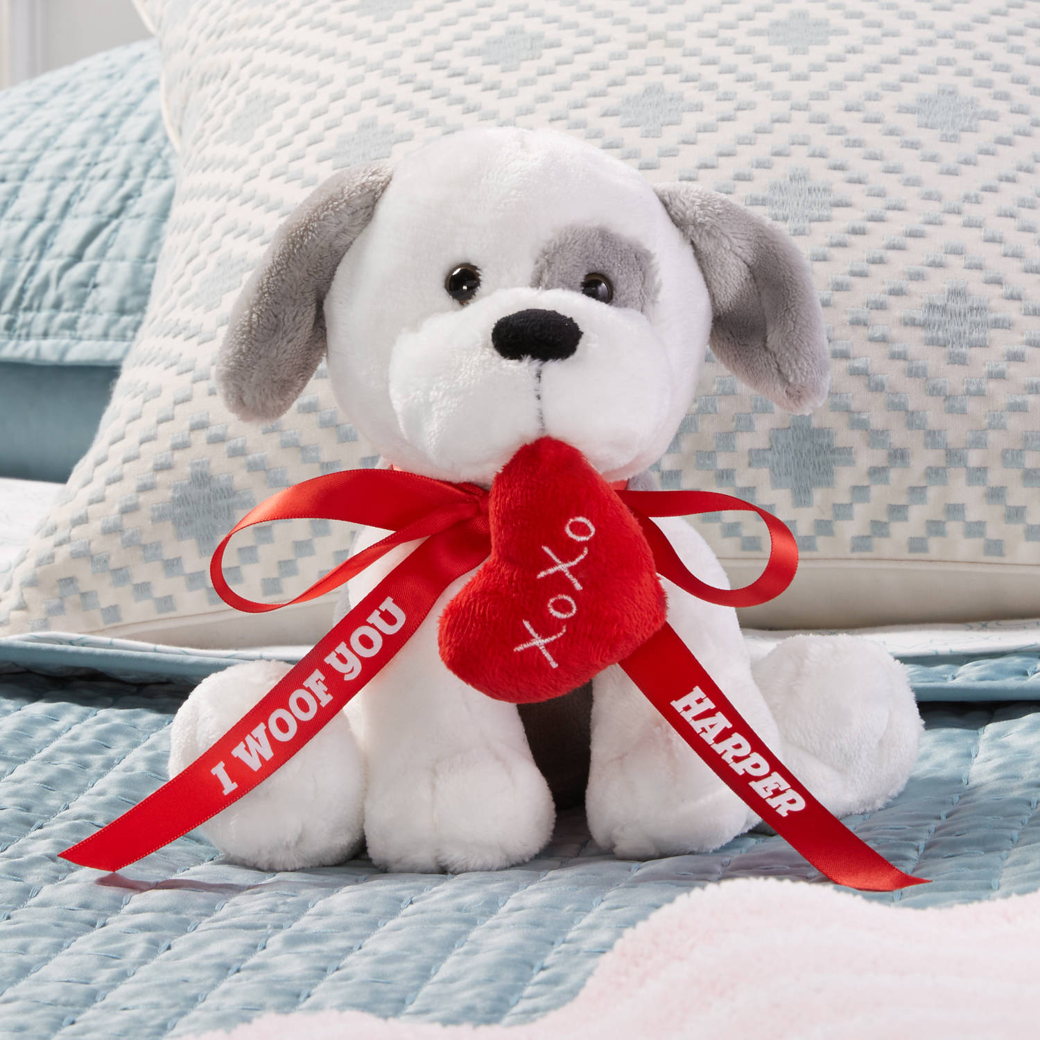 Personalized Valentines Day Plush Dog