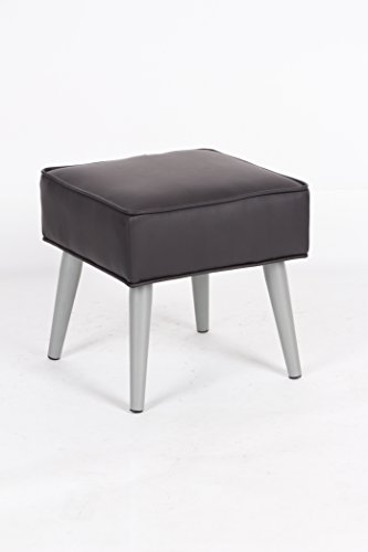 brown bonded leather square footstool ottoman with metal legs