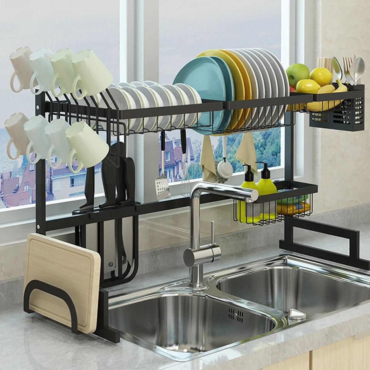 sink rack dish drainer for kitchen sink racks stainless steel over the sink shelf storage rack sink size 32 5inch black 33 5x12 5x20 5inch
