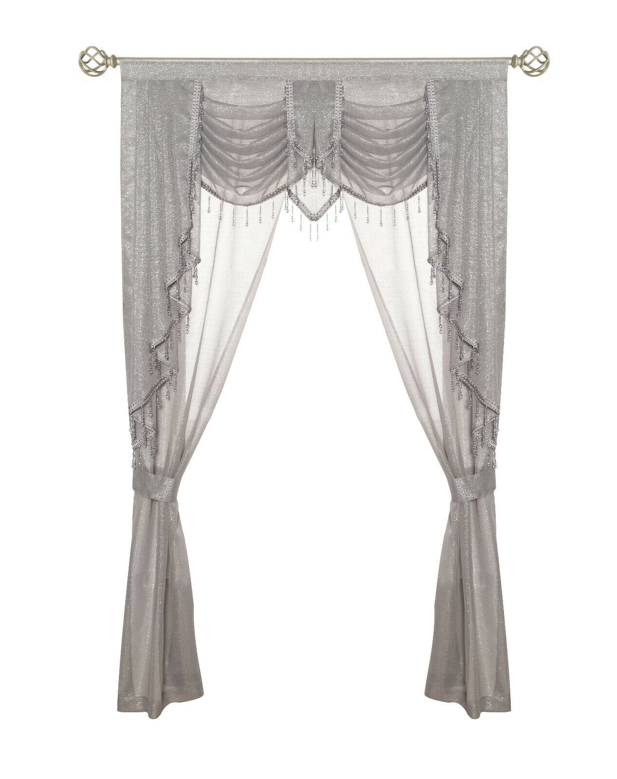 ultra glam beaded sparkly sheer window in a bag curtain set gray