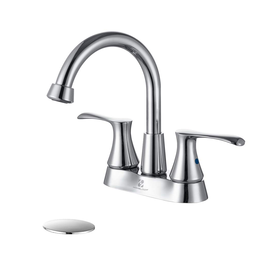 homelody centerset bathroom faucet chrome 360 degree high arc swivel spout bathroom sink faucet 2 handle with pop up drain 1 hole or 3 hole deck
