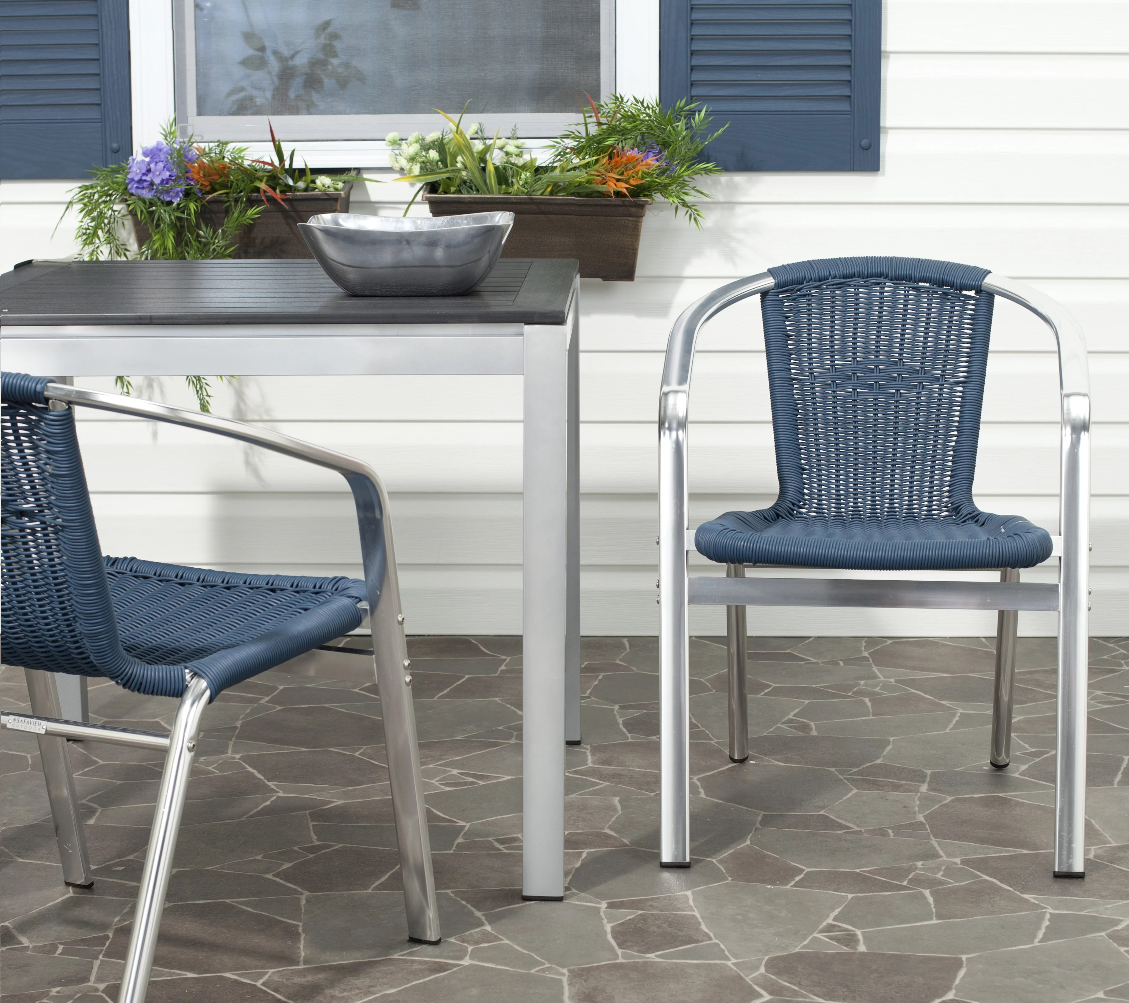 safavieh wrangell outdoor patio stacking arm chair set of 2 teal