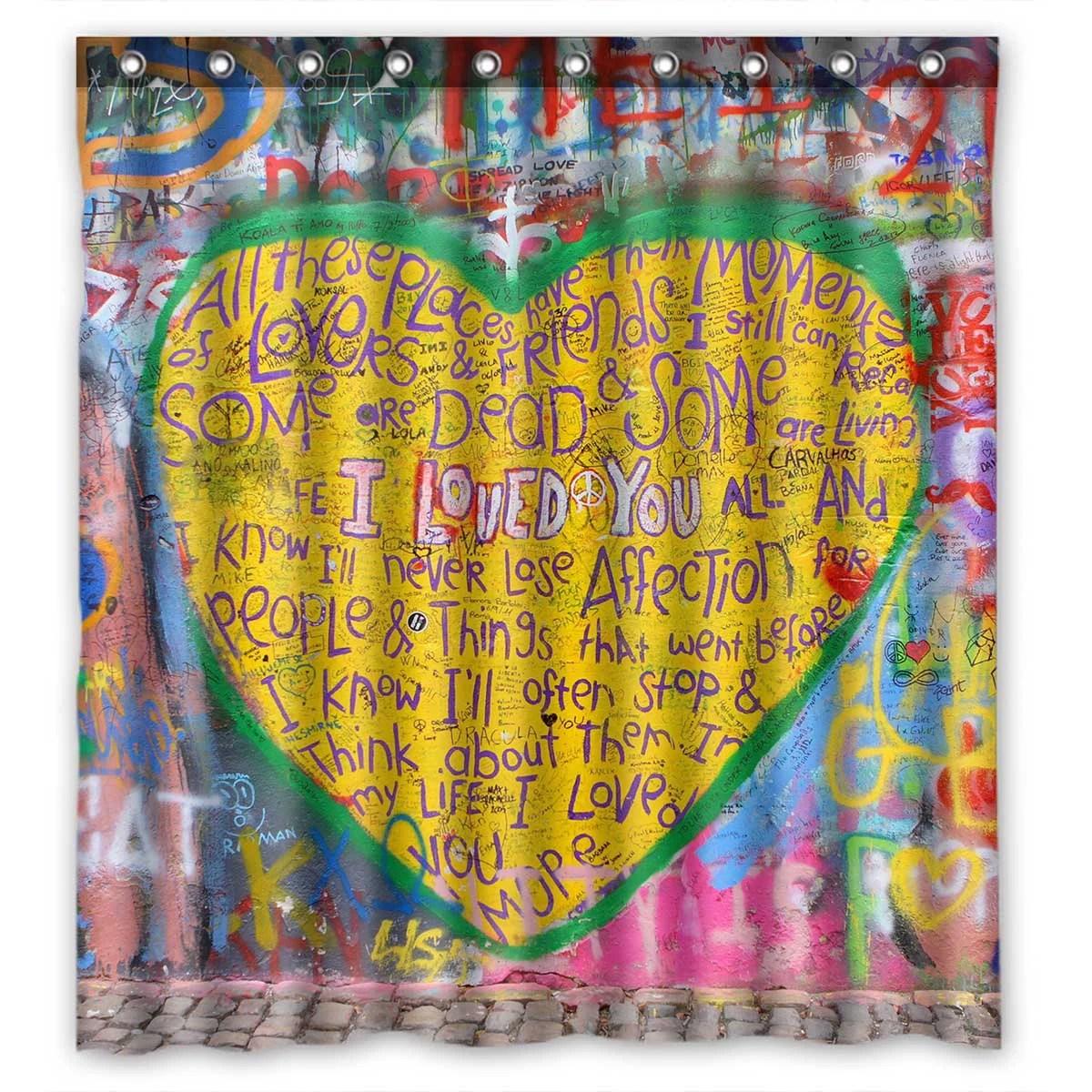 pkqwtm john lennon graffiti lyrics from beatles songs waterproof polyester fabric shower curtain size 66x72 inches