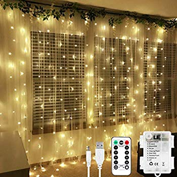 le fairy curtain lights battery or usb plug in 9 8 x 9 8 ft curtain of string lights with remote 300 led indoor outdoor decorative christmas twinkle