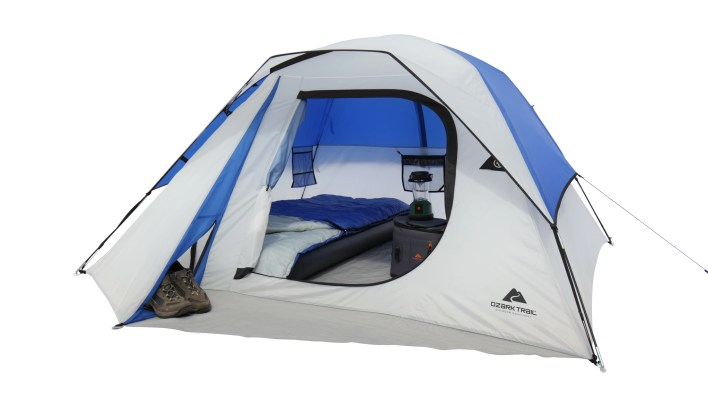 Cheap Camping Equipment While In A Budget- This Ozark Trail 4 person dome tent is great for a small family of 4