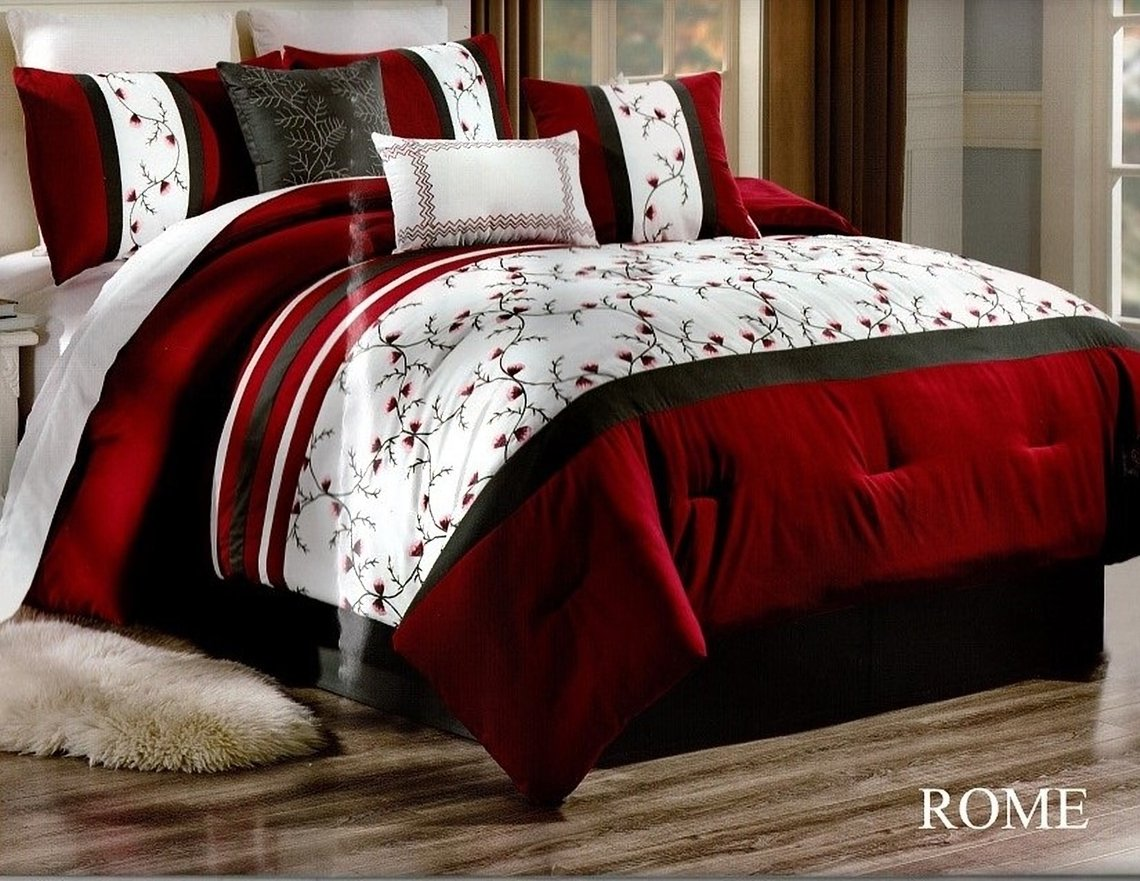 unique home rome comforter 7 piece bed set ruffled bed in a bag clearance bedding comforter duvet fade resistant super soft calking white red black