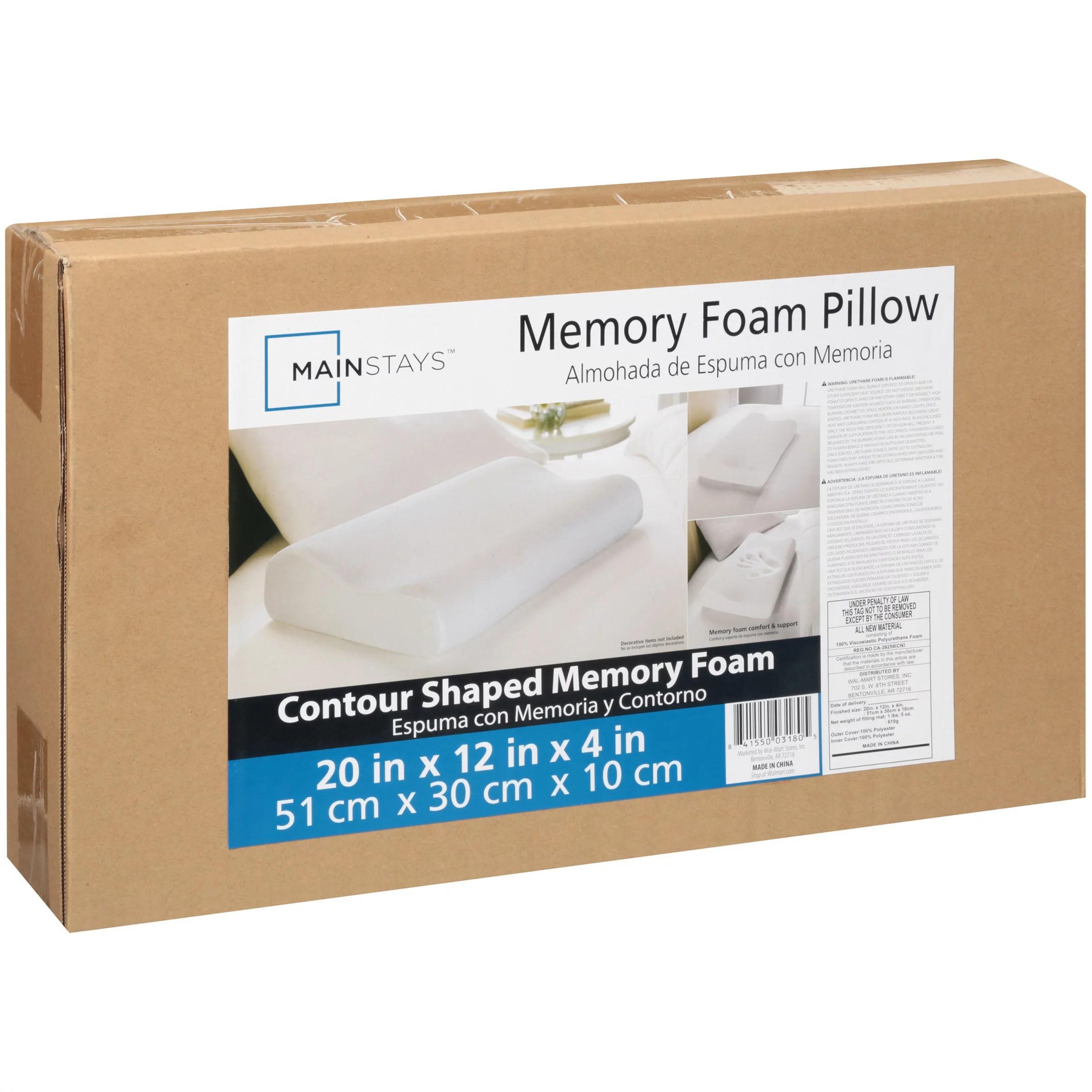 mainstays memory foam standard contour pillow 1 each