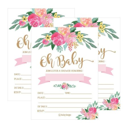 25 Cute Fl Oh Baby Shower Invitations For S Pink Blush Gold Flowers Printed Write Or Fill In The Blank Invite Unique Custom Vintage Coed