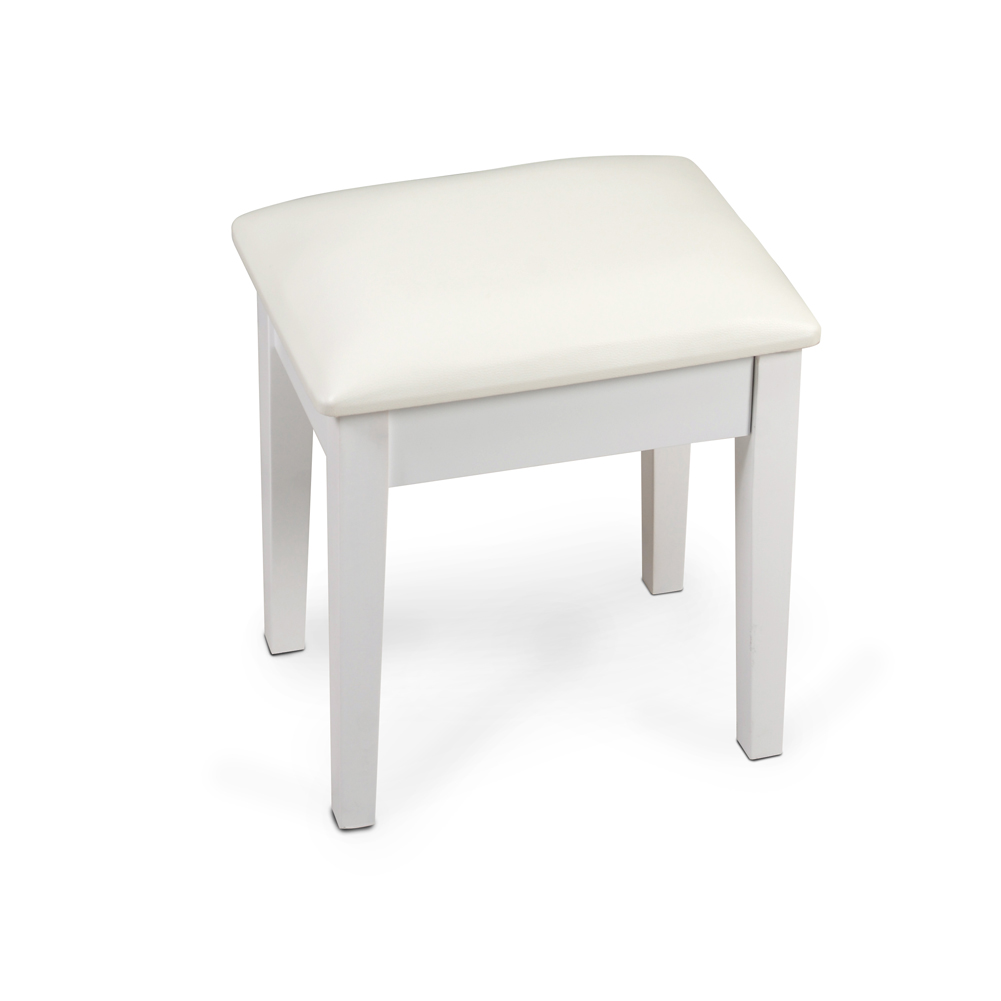 organizedlife large size vanity stool makeup bench dressing stool chair stool with cushion and solid legs white 16 93 x 13 x 17 72 inches