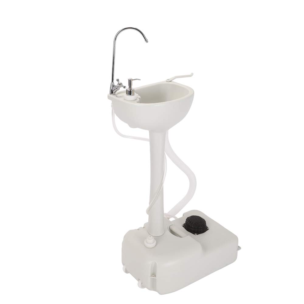 ktaxon portable camping sink with towel holder soap dispenser rolling 19 l water capacity hand wash basin stand for garden outdoor camping