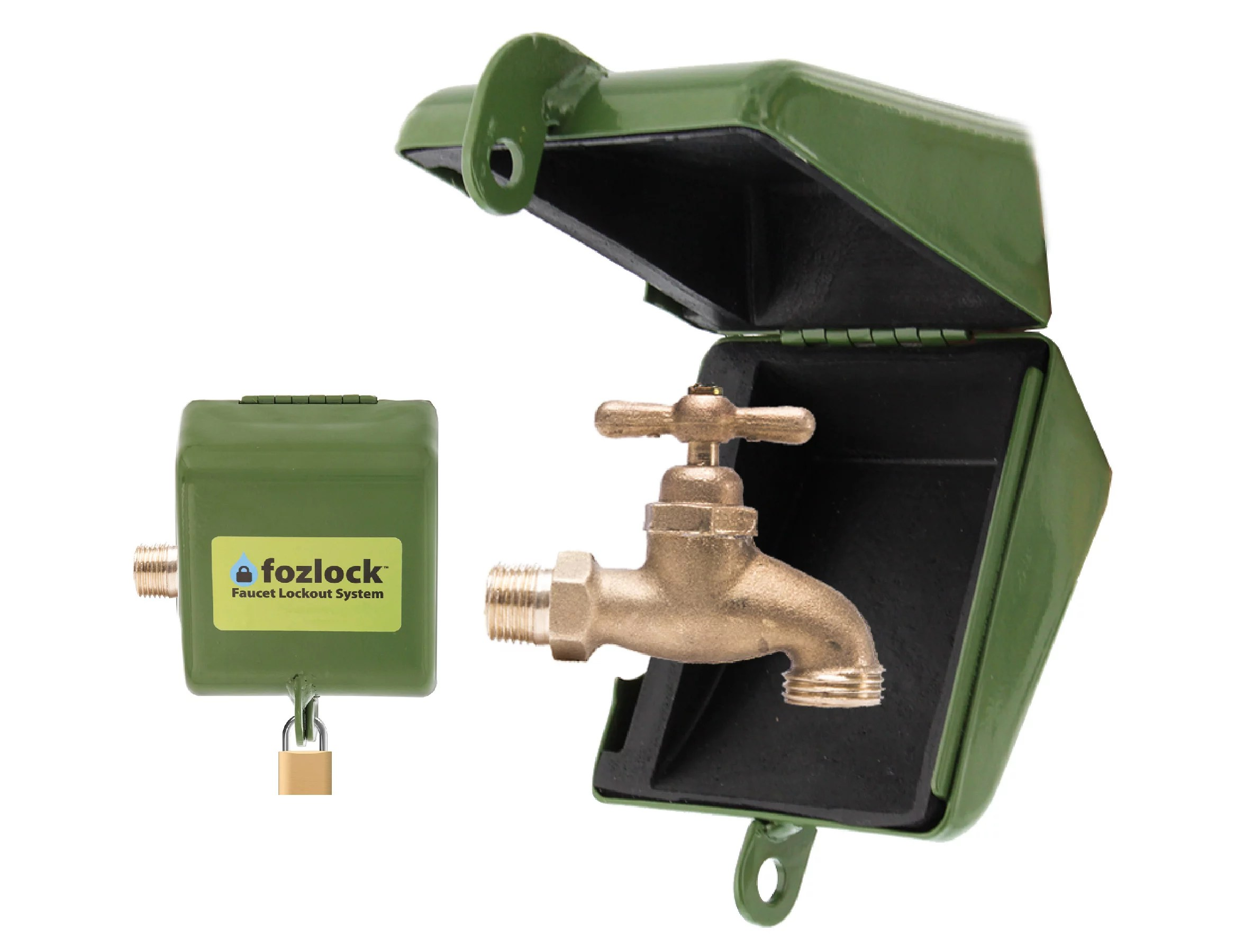 fozlock outdoor faucet lock system green insulated garden hose bibb lock and spigot lock with cover prevent water theft and stop unauthorized