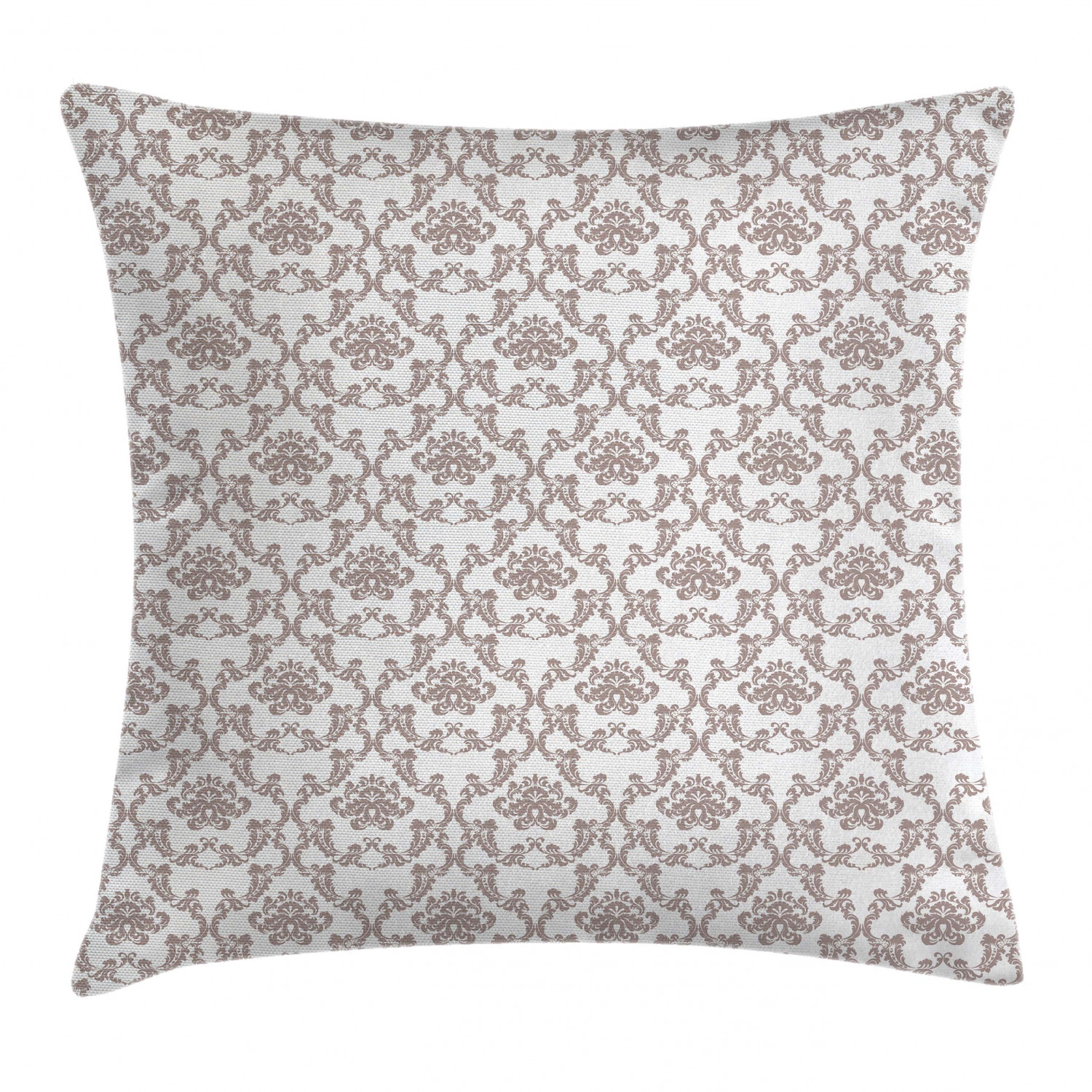 taupe throw pillow cushion cover french style curvy damask pattern nostalgia foliate wealth flora elements historical decorative square accent