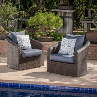 Red Barrel Studio Dierdre Outdoor Wicker Swivel Club Patio Chair     Red Barrel Studio Dierdre Outdoor Wicker Swivel Club Patio Chair with  Cushions  Set of 2