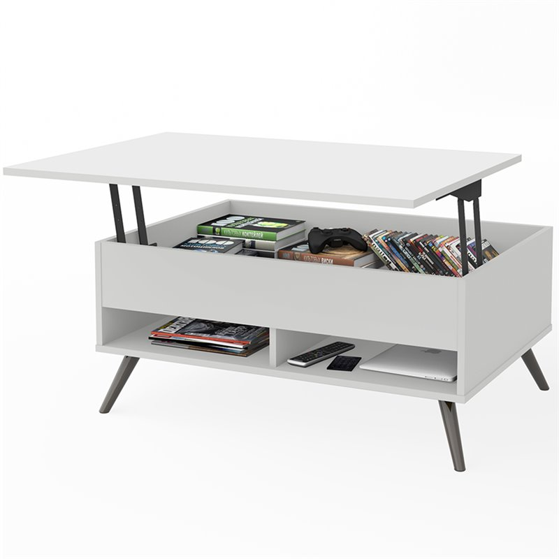 bestar krom lift top storage coffee table in white walmart com