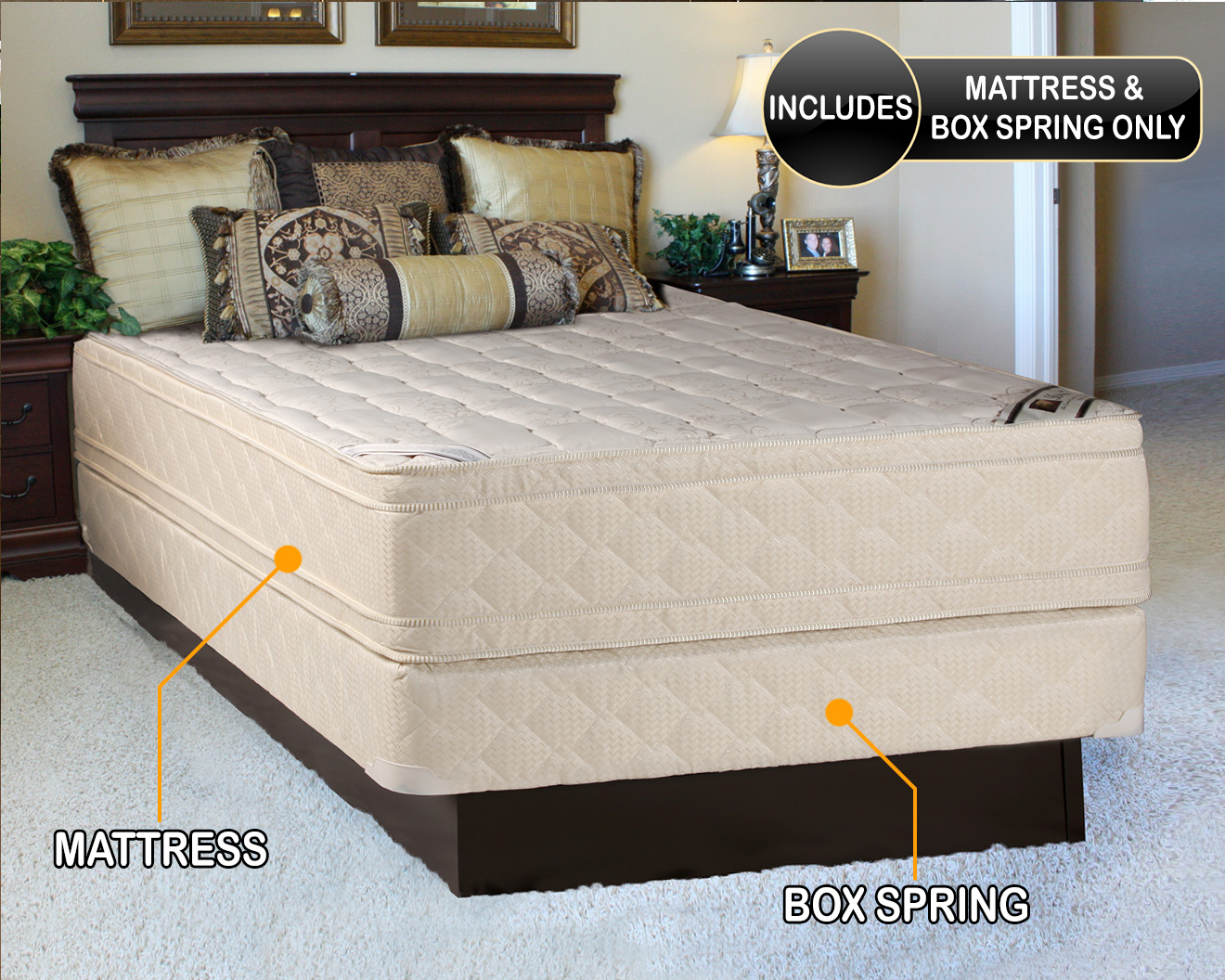 elite extrapedic pillow top king size mattress and box spring set