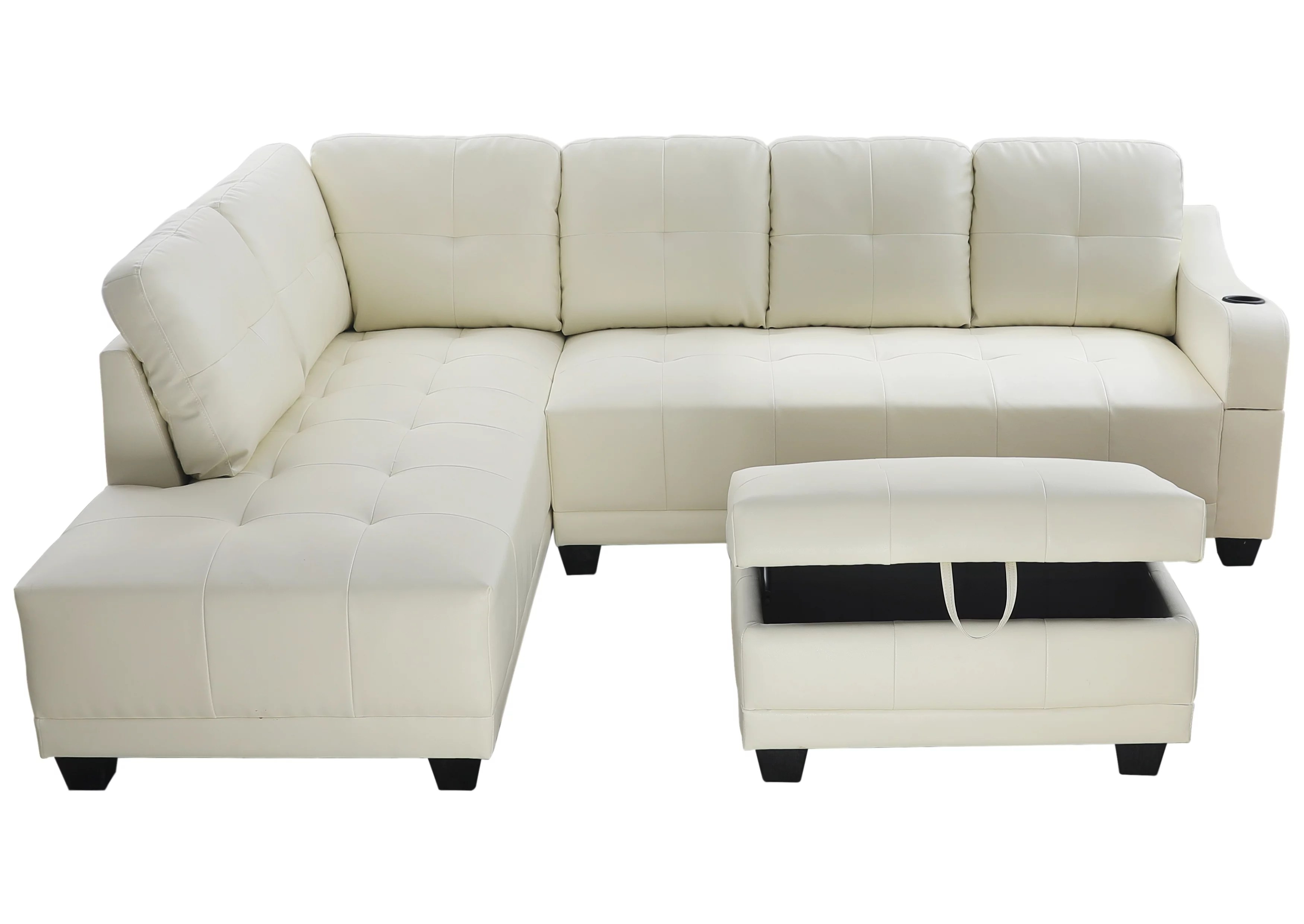 sectional sofa aycp furniture white faux leather sectional sofa with cup holder on the arm and storage ottoman left hand facing chaise more colors