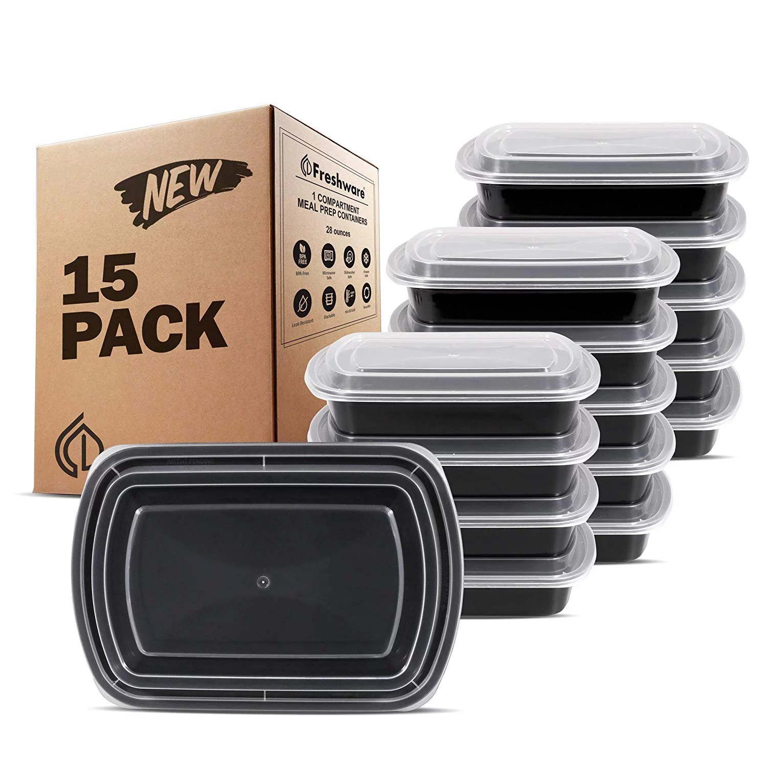 freshware 15 pack 1 compartment bento lunch boxes with lids reusable microwave dishwasher freezer safe meal prep portion control 21 day fix