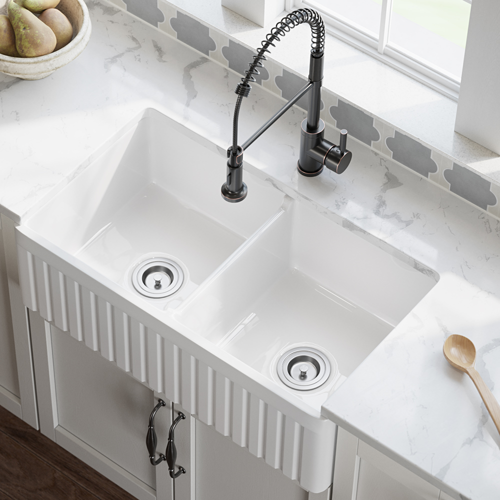 olde london farmhouse fireclay 27 kitchen sink with grid and strainer in white