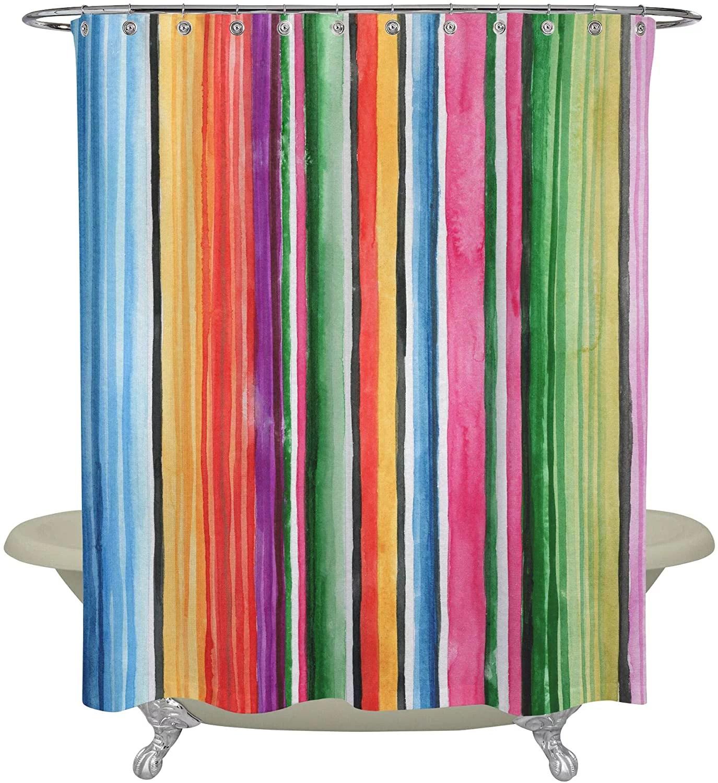 serape shower curtain fabric bathroom decor polyester 7 x72 with 12 hooks bohemian indian cactus western boho design blue red green yellow orange