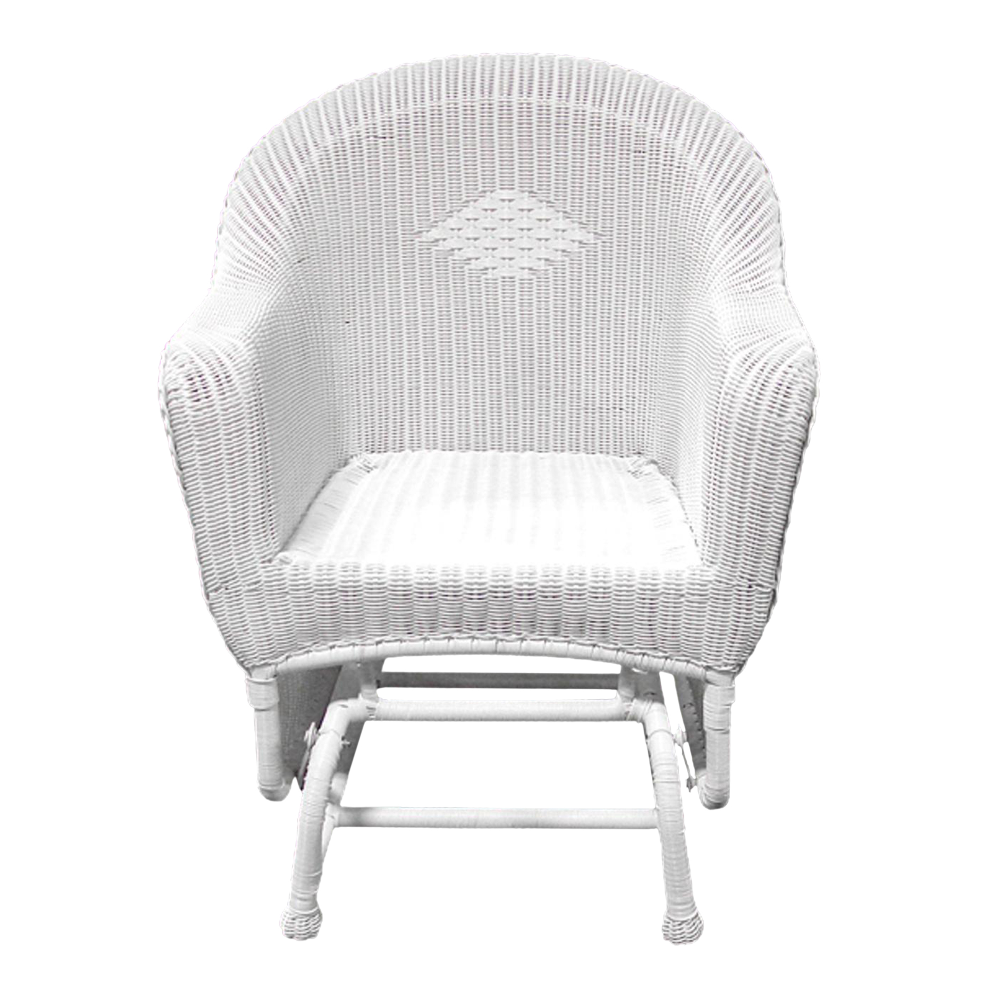 36 white resin wicker single glider outdoor patio chair