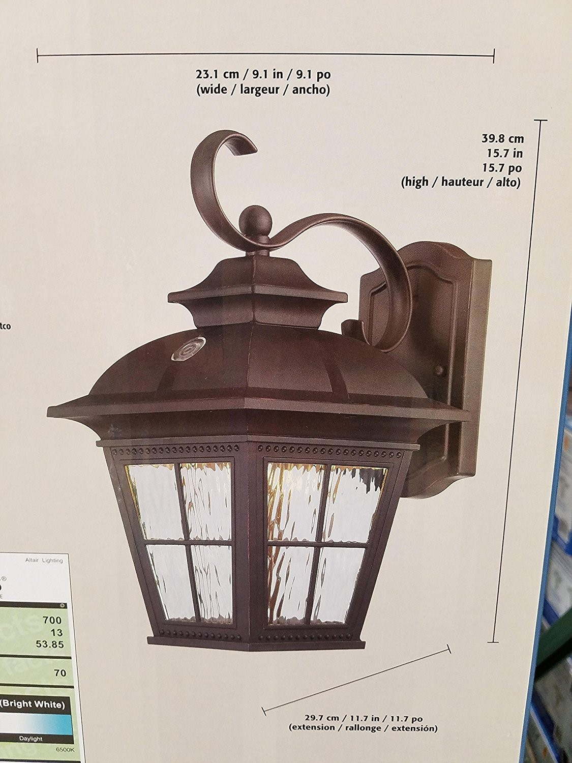 altair energy saving led lantern brushed patina finsh with clear water glass