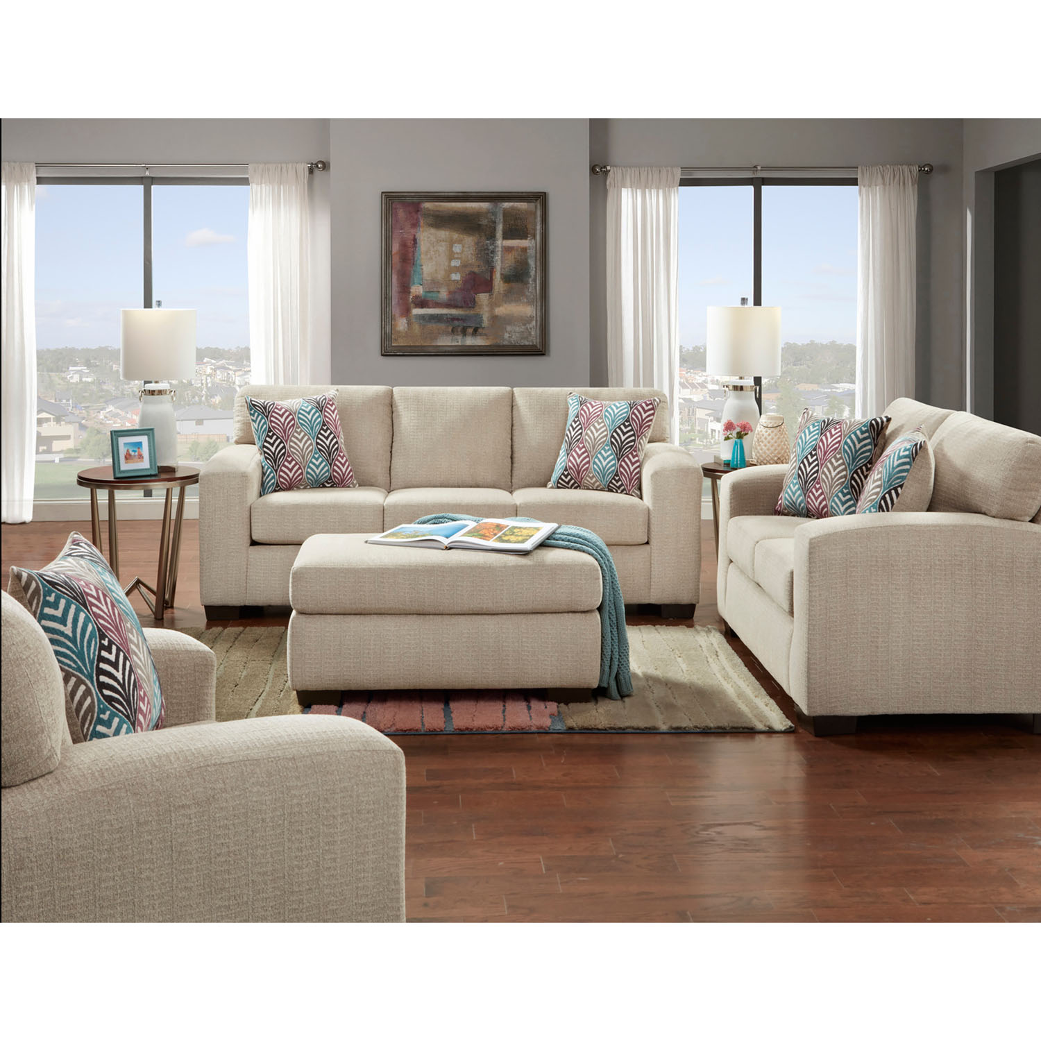 cambridge chamberlain four piece living room set sofa loveseat extra large chair and cocktail ottoman walmart com