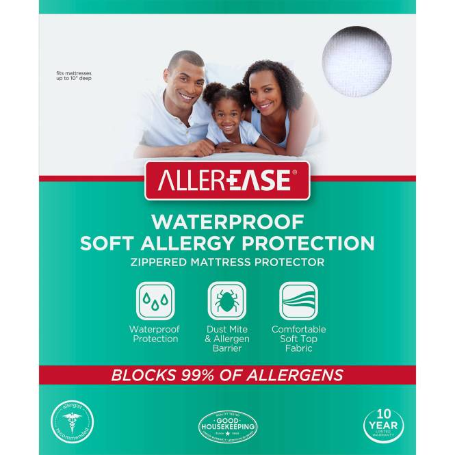 Allerease Soft Terry Allergy Protection Waterproof Zippered Mattress Protector Queen