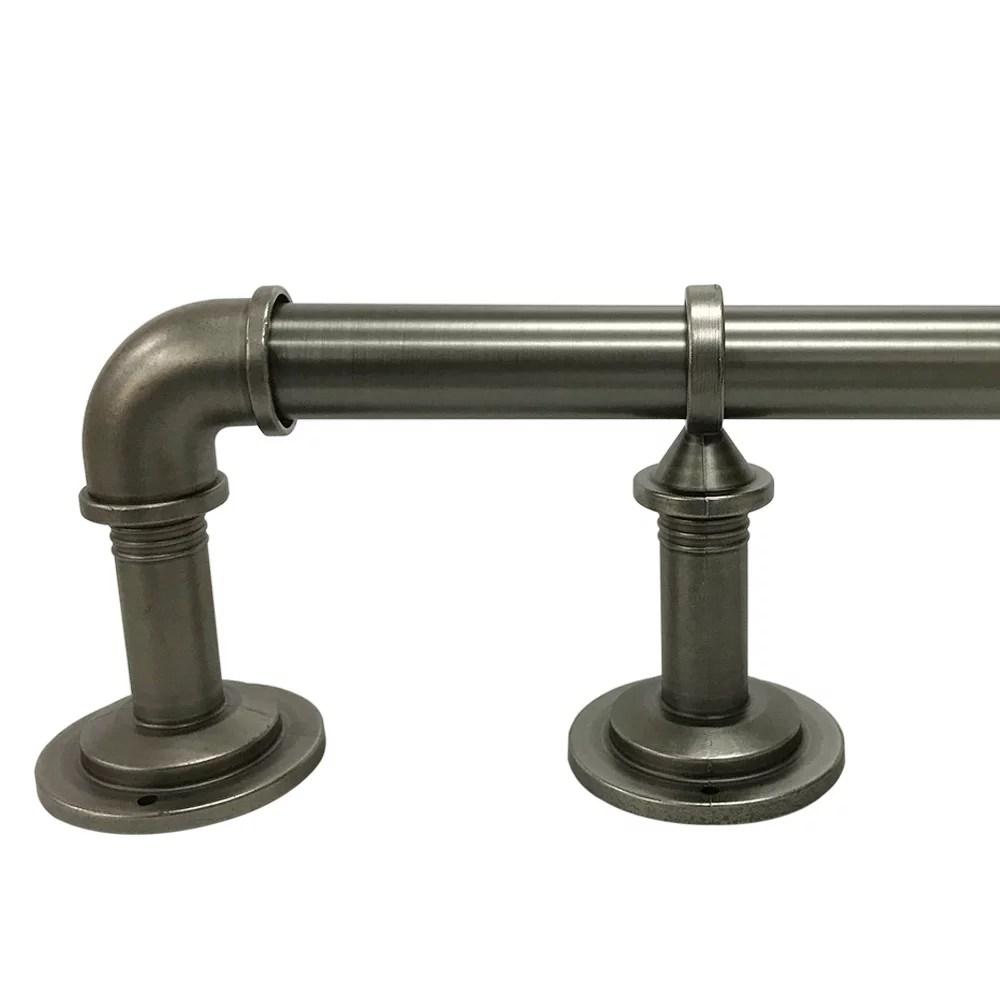 better homes gardens 40 120 industrial pipe wrap around single curtain rod set 1 diameter antique pewter finish walmart com