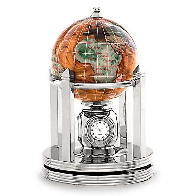 Copper Amber Gemstone Globe 3 Inch Galleon Rotating Silver