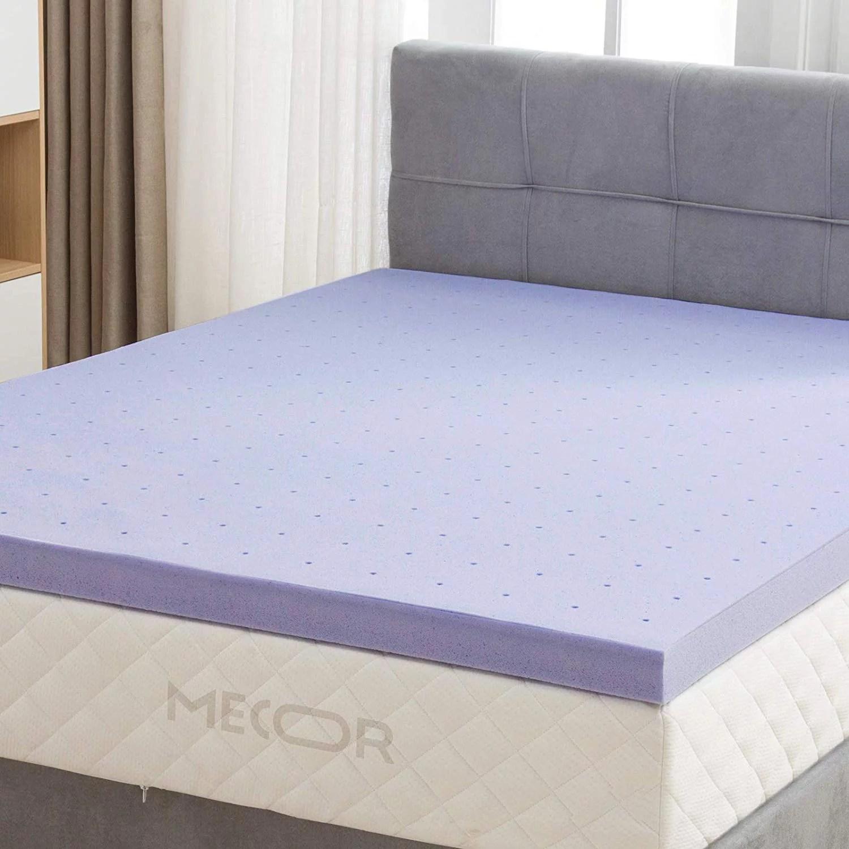 mecor 4 inch 4 queen size gel infused memory foam mattress topper ventilated design certipur us certified foam queen purple
