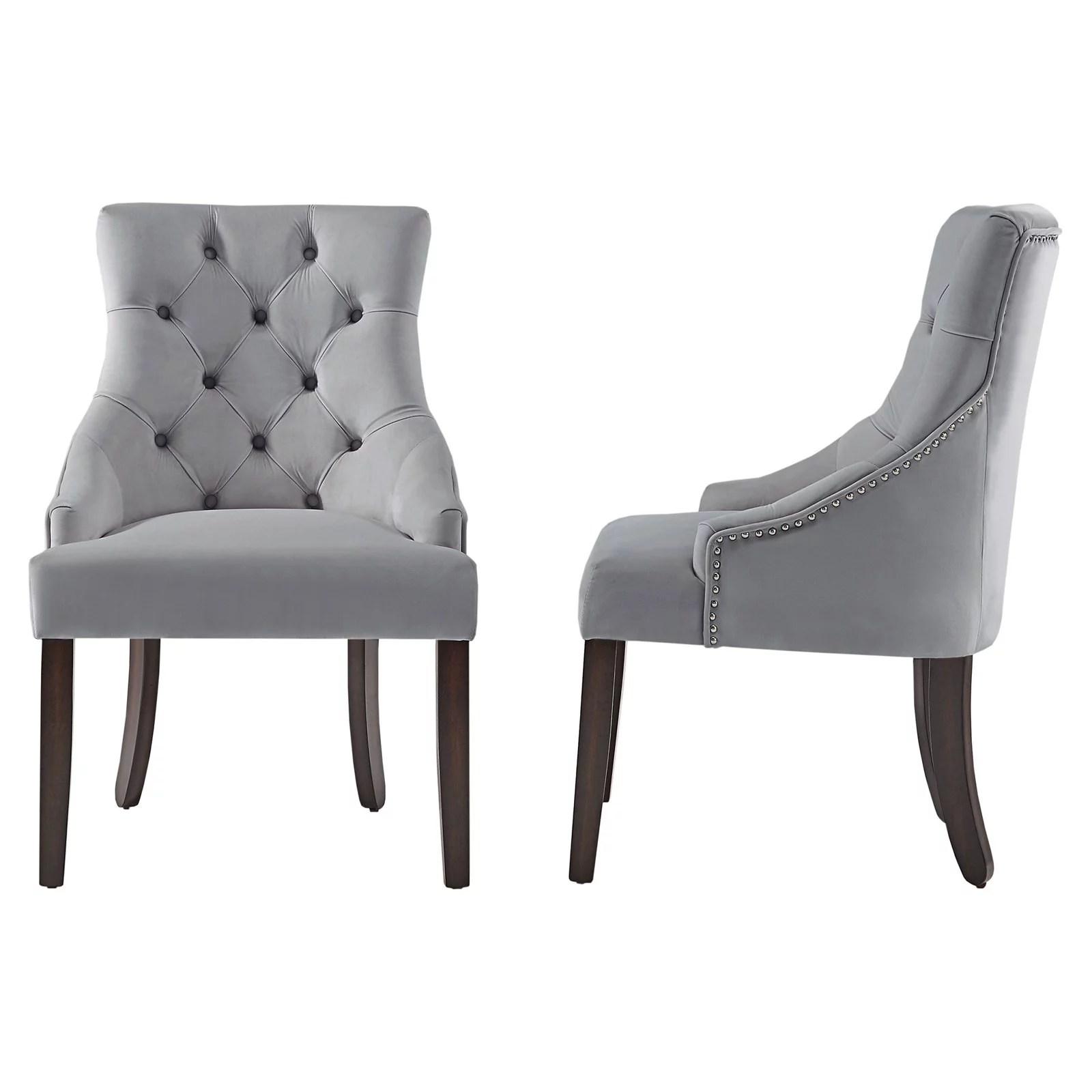 chelsea lane curved back velvet tufted dining chair set of 2 gray