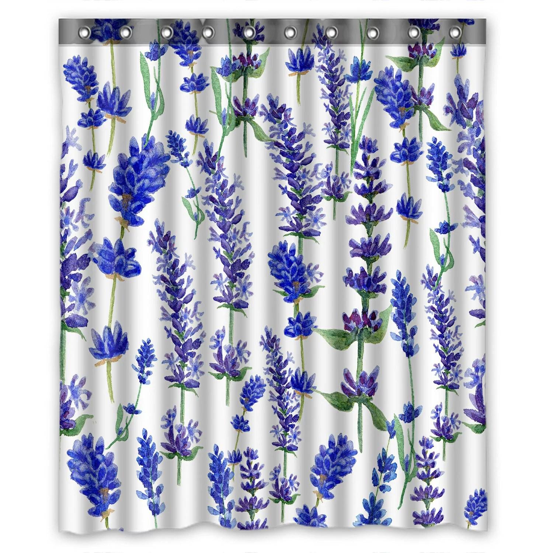 Home Kitchen Purple Flower Pattern Bathroom Fabric Shower