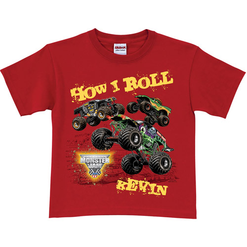 Personalized Monster Jam Red Boys' T-Shirt – How I Roll