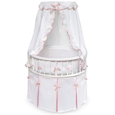 Badger Basket White Elegance Round Baby Bassinet Waffle Pink Bedding