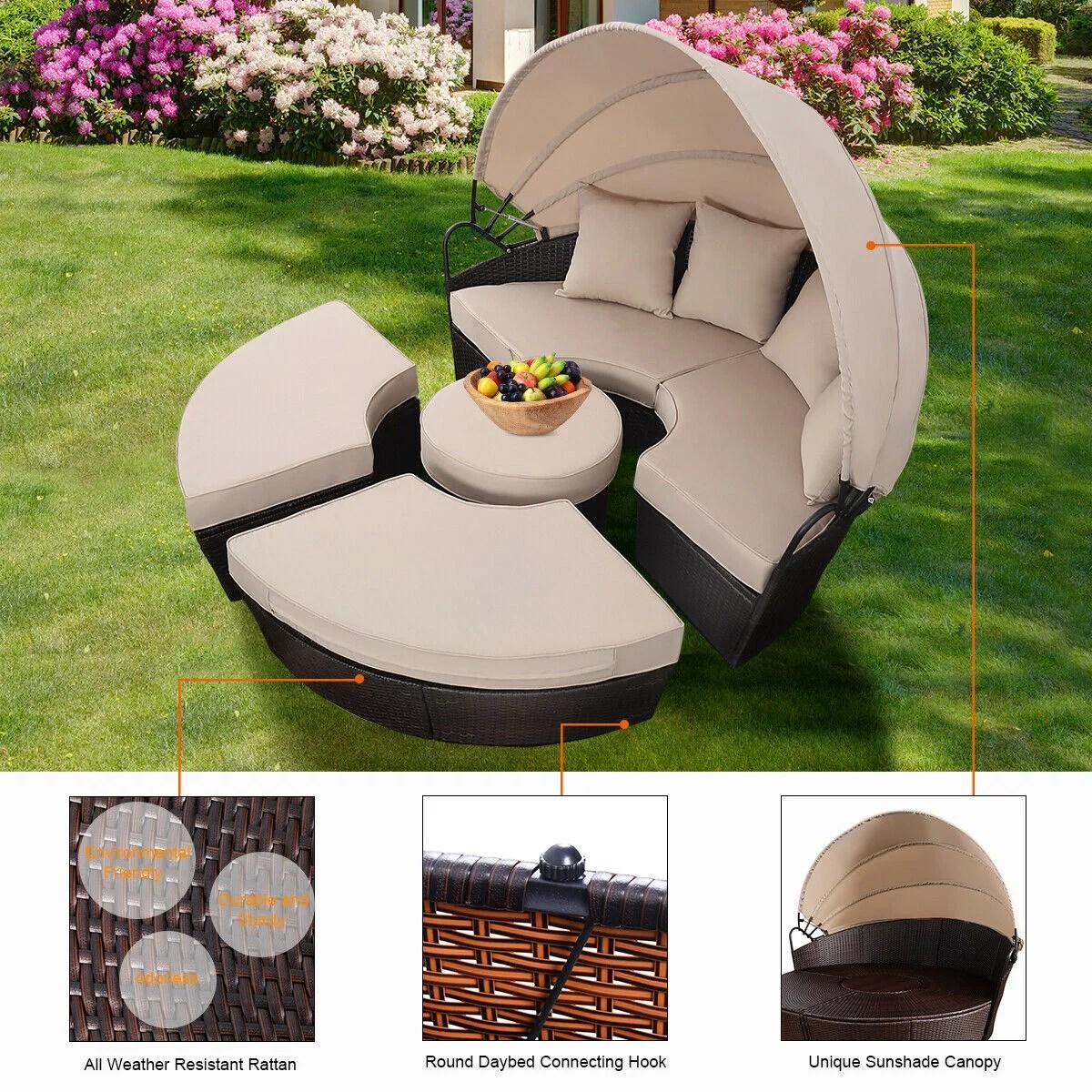 costway rattan patio sofa furniture