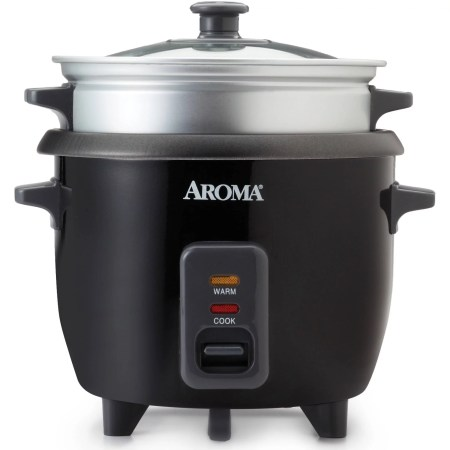 Aroma 6-Cup Rice Cooker And Food Steamer, Black