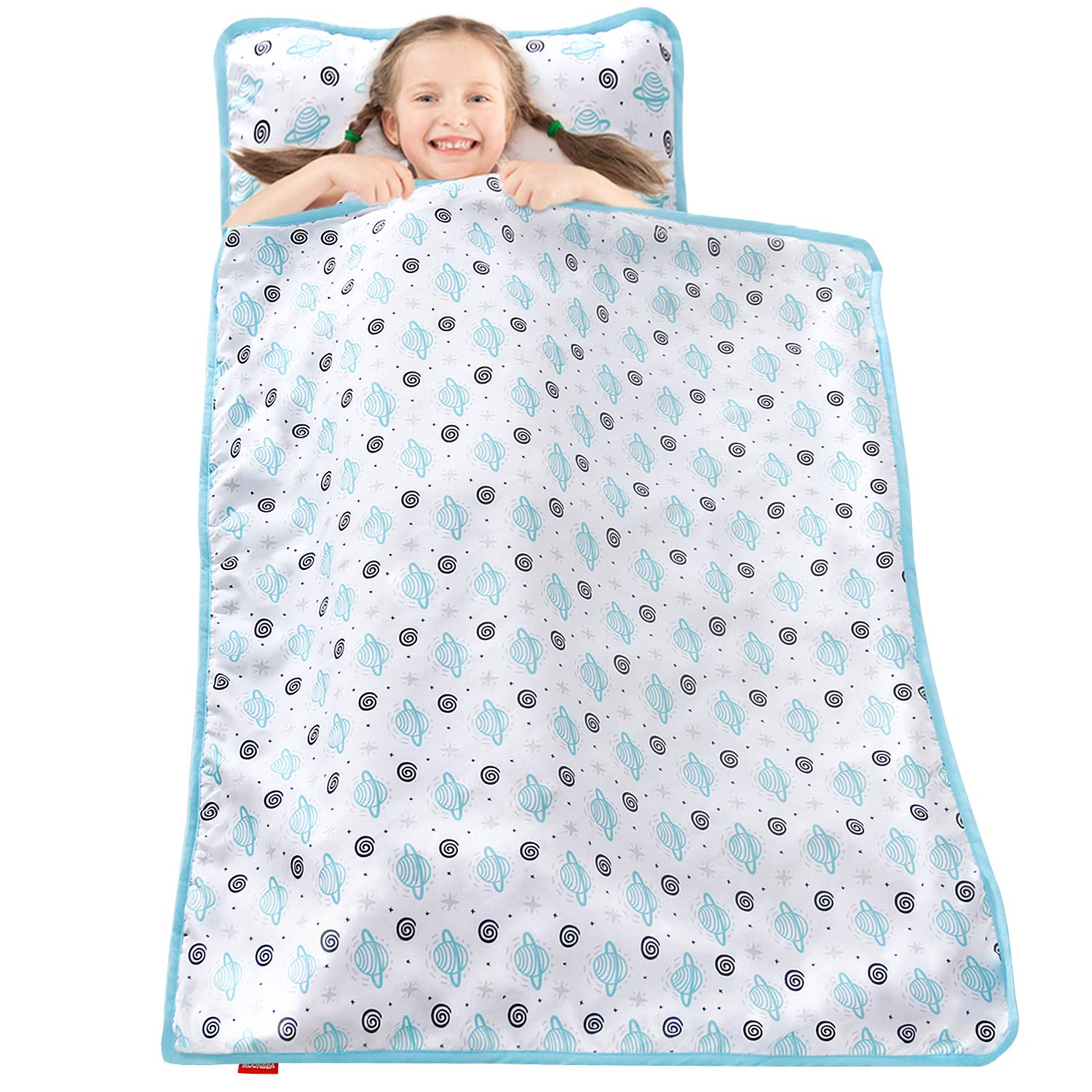 moonsea toddler nap mat with pillow and blanket satellite pattern