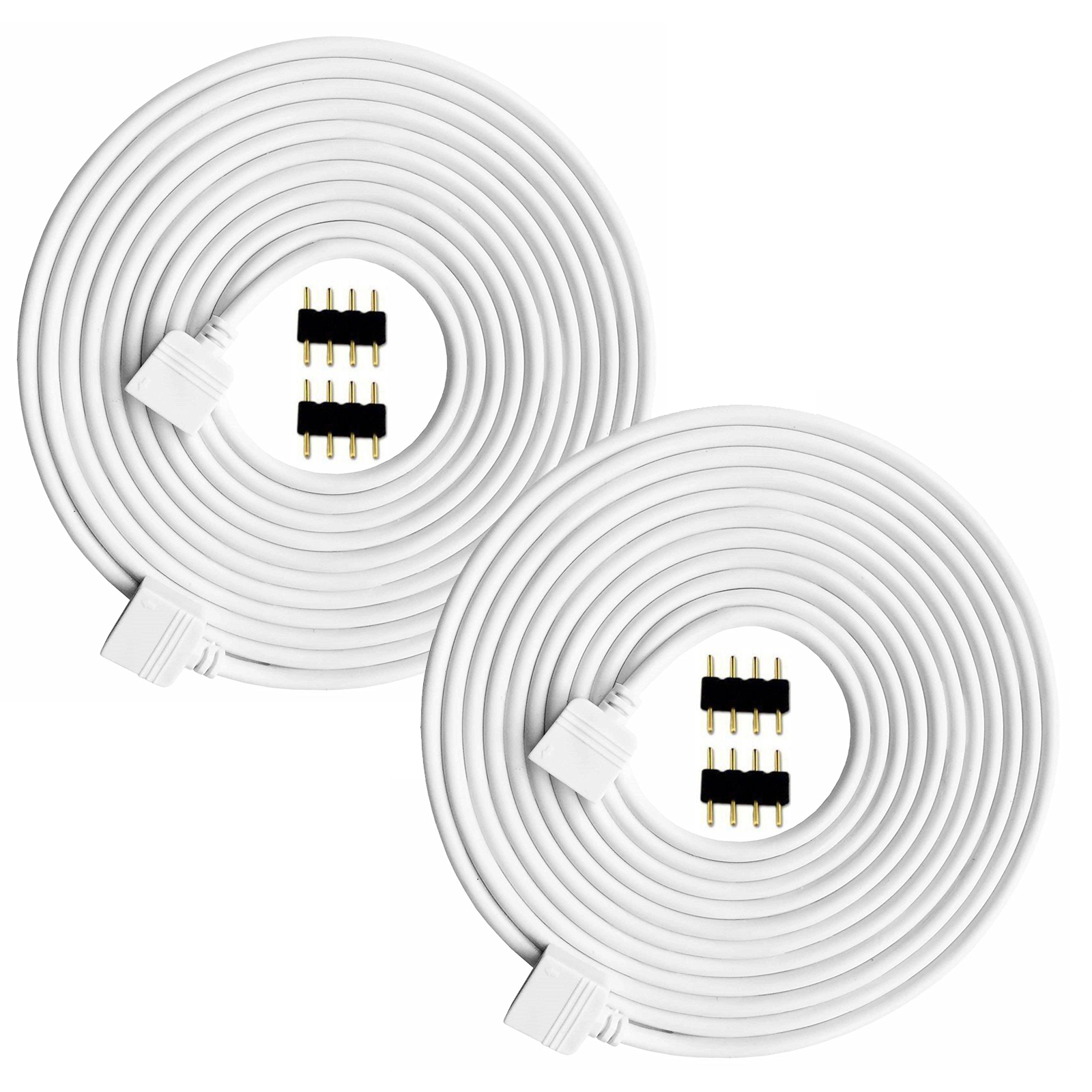 2 Pack 5m 16 5ft Extension Cable Connect Female Plug To Smd Rgb Led Strip Light With Free