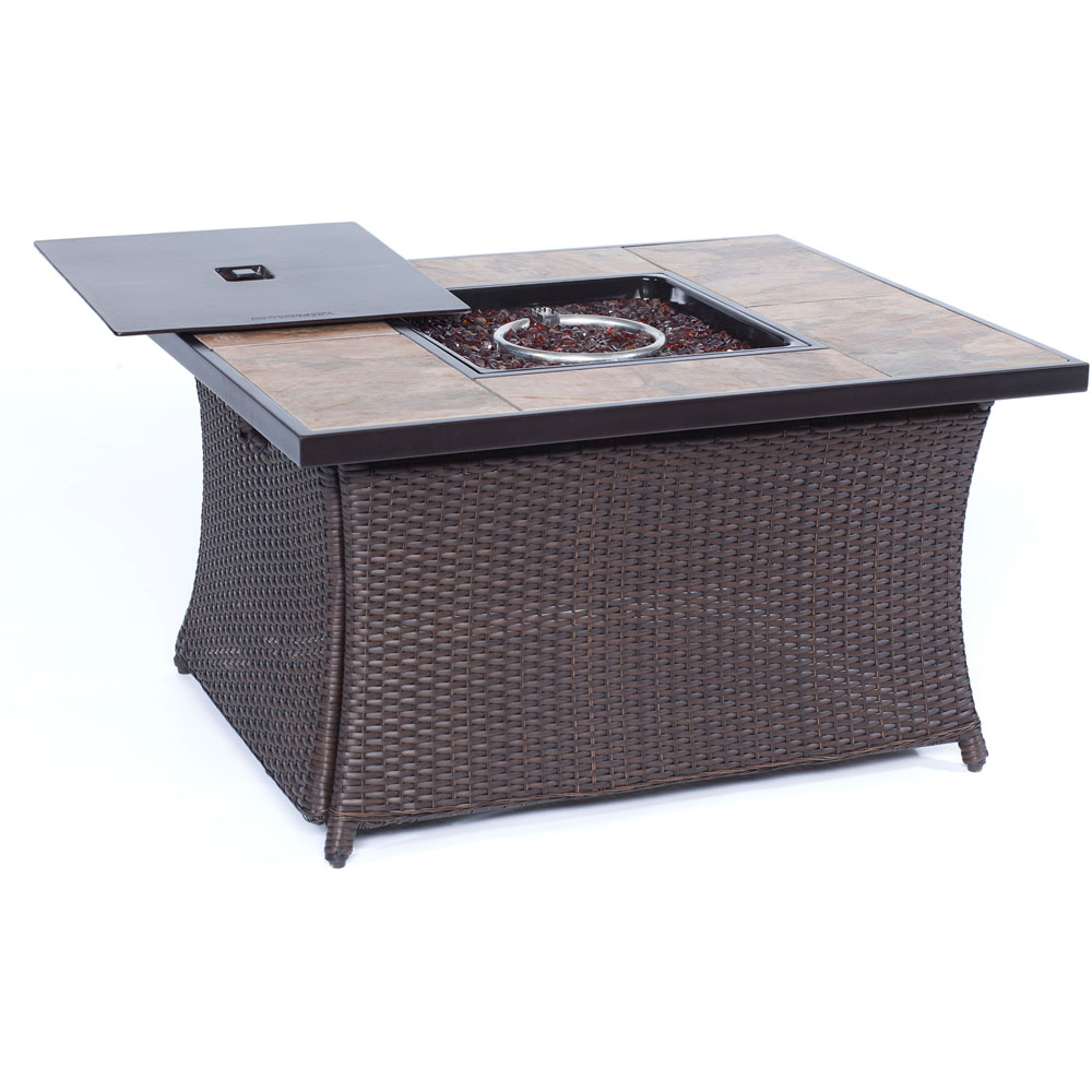 hanover tile top outdoor liquid propane fire pit flame coffee table firepit center porcelain tile table patio furniture with fire glass and burner