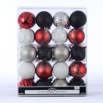 Holiday Time 40 Count Shatterproof Ornaments Red Black White Silver Walmart Com Walmart Com