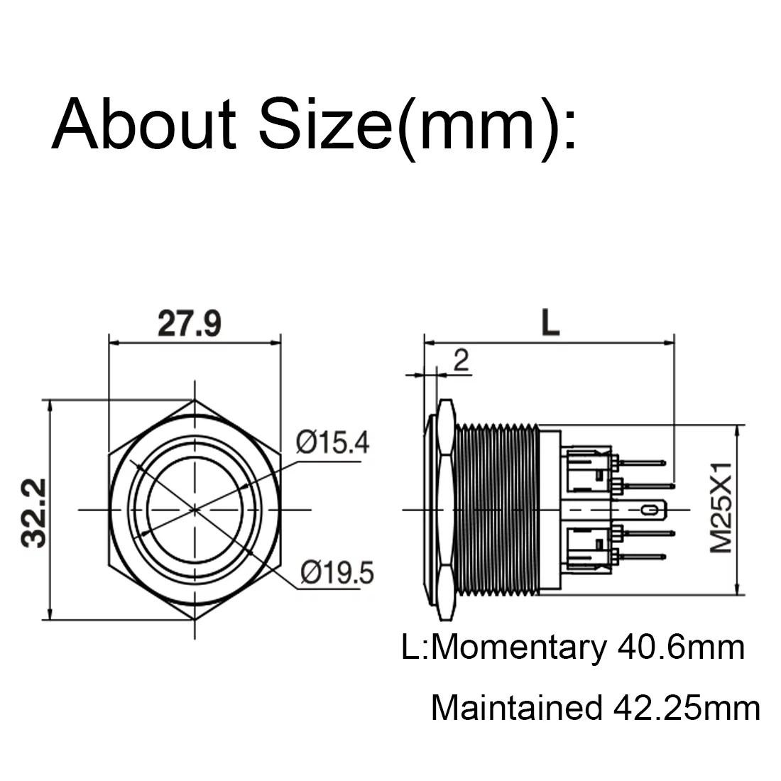 25mm Dia Flat Cap Momentary Stainless Steel Metal Push