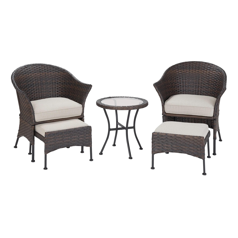 mainstays arlington glen 5 piece outdoor furniture patio leisure set beige