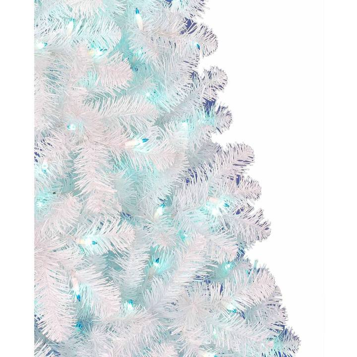 White Artificial Christmas Tree With Blue Lights