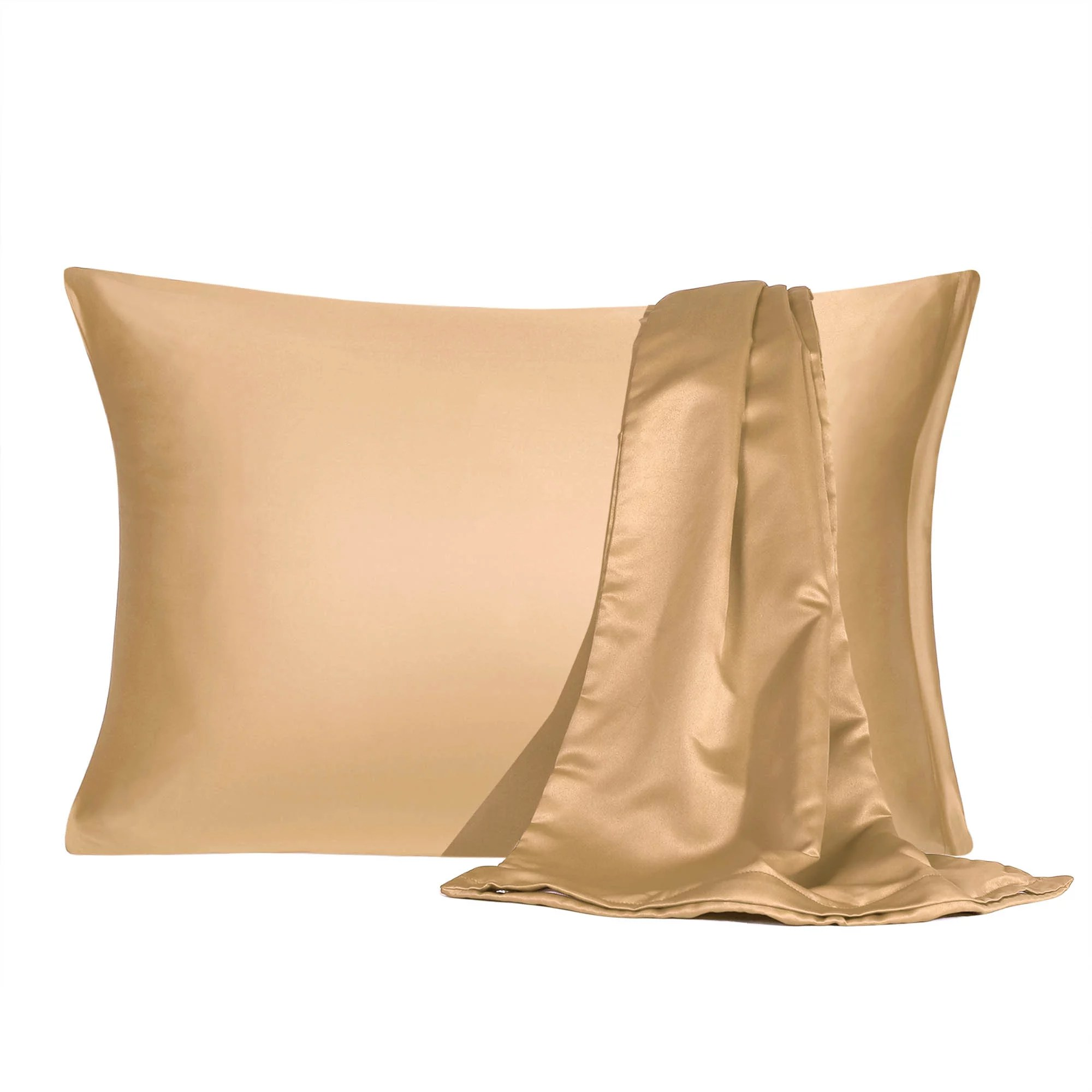 satin pillowcase with zipper king size set of 2 silky sateen pillow cases covers gold