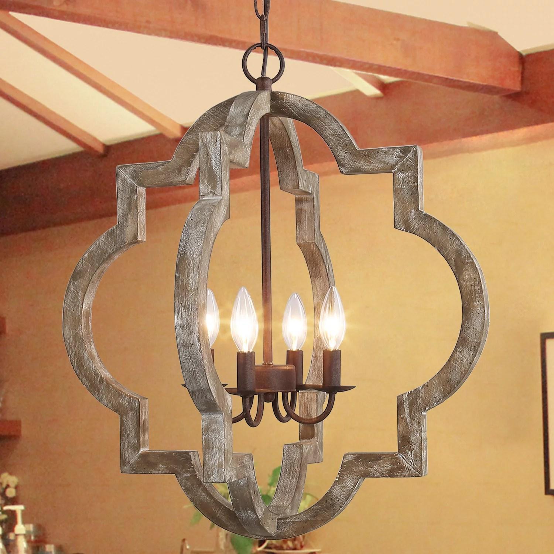 lnc farmhouse wood chandeliers 4 lights rustic pendant lighting for dining room walmart com